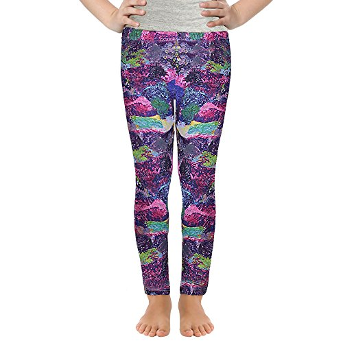 Girls Solid Leggings Owl Mermaid Printed Basic Pants (Painting, 140 (9-10Y))