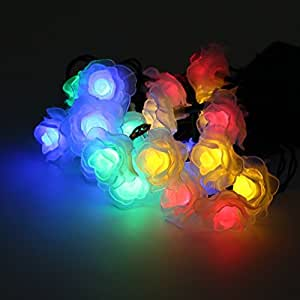 Annong 20 LED Battery Operated Rose Flower String Lights for Wedding Garden Party Christmas Decoration (Mixed-color)