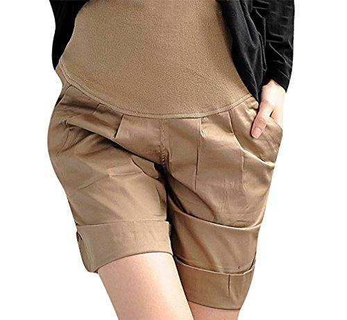 US&R, Women's Black Beige Turn Up Hem Pleated Secret Fit Belly, Khaki 6 ,Manufacturer(L)