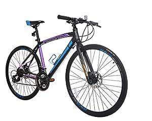 BAVEL Ultra Light Aluminum 21 Speed 700C Road Bike Racing Bicycle Shimano 48cm/51cm/54cm (black + blue, 48cm)