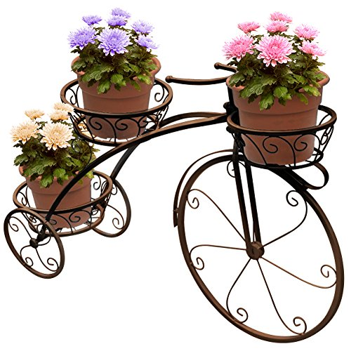 Sorbus Tricycle Plant Stand - Flower Pot Cart Holder - Ideal for Home, Garden, Patio - Great Gift for Plant Lovers, Housewarming, Mother's Day - Parisian Style (Bronze)]()