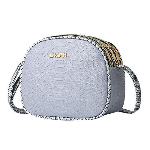 Zippers Borsa Round PU Multi Borsa tracolla Women pelle a Bags Grigio Messenger moda Casual in wwEgf