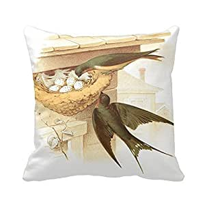 Vintage Birds And Nest Throw Pillow Cushion Fashion Home Decorative Pillow Cotton Polyester Pillow with insert