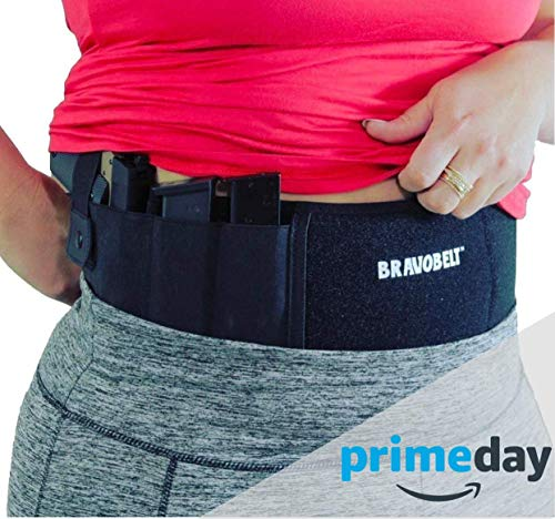 (BravoBelt Belly Band Holster for Concealed Carry - Athletic Flex FIT for Running, Jogging, Hiking - Glock 17-43 Ruger S&W M&P 40 Shield Bodyguard Kimber | Men & Women - Perfect Deep Concealment)
