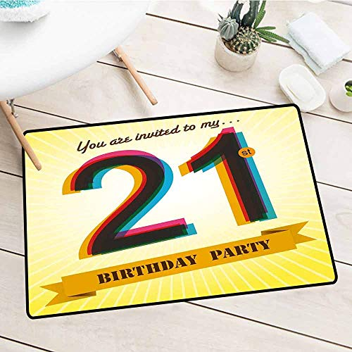 (NineHuiTechnology Customed Entrance Welcome Mats, 21st Birthday, Invitation to an Amazing Birthday Party on a Golden Colored Backdrop Image, Multicolor, 15.5