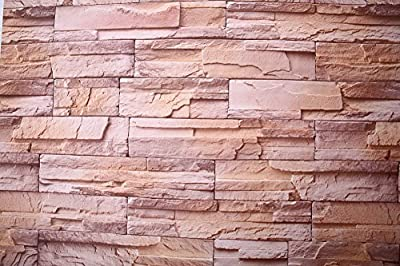 "7Buy Just Peel and Stick 24""X195"" Modern Minimalist Faux Brick PVC Stone Wallpaper Waterproof Removable Wall Decor Sticker"