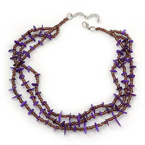 3 Strand Violet Shell Nugget, Lavender Glass Bead Necklace In Silver Tone - 42cm L/ 5cm Ext ()