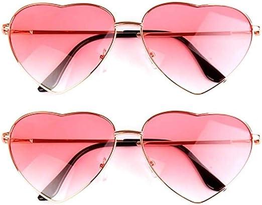 2 pares de gafas de sol con forma de corazón hippie para disfraz hippie, ligeras y retro, para mujeres y niñas, uso diario (una rosa, una lente azul y rosa, marco de