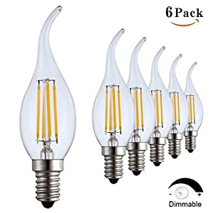 Amazon.com: Santaro 2W/4W C35 Dimmable LED Candle Bulb (6Pack ...