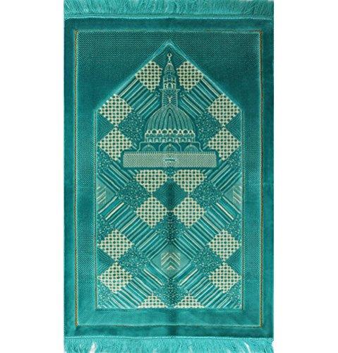 51%2Bghvf1B3L - Plush Velvet Islamic Prayer Rug Janamaz Sajjadah Muslim Namaz Seccade Turkish Prayer Mat Carpet FREE CAP Floral Turquoise