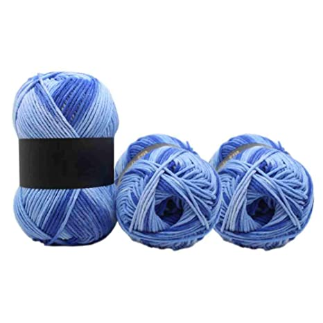 X-loves 3 pcs 100 gramos grueso hilo de leche gradiente de color algodón agujas