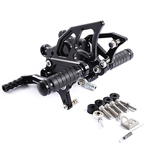 For Motorcycle Rearsets Rear Foot Pegs CNC Rear set Footrests Fully Adjustable Rear Foot Boards (KAWASAKI NINJA 300/250 2013-2016, black) (Racing Rear Sets)