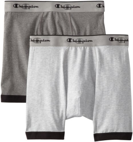 Champion Men's Performance Stretch Boxer Brief 2 Pocket, X-Large, Heather/Charcoal