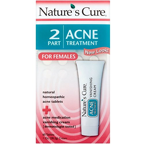 Nature's Cure 2 Part Acne Treatment for Females 60 tablets 1 oz Cream (Pack of 4) (Best Cure For Acne)