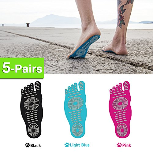 5 Pairs Barefoot Adhesive Foot Pad , Waterproof Anti-skid Beach Invisible Shoes, Stick on Foot Soles, Non Slip Yoga Socks, Summer Activities for Men Women and Kids by ELIMI (S, Black)