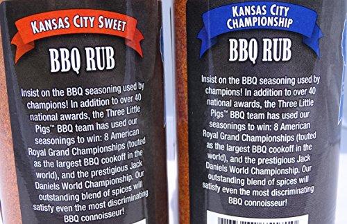 Three Little Pigs Kansas City Sweet BBQ Rub 12.25 oz and Championship BBQ Rub 12.5 oz Gift Set Bundle Pack with Free Bonus Miniature Meat Smoking Guide Magnet by THREE LITTLE PIGS (Image #2)