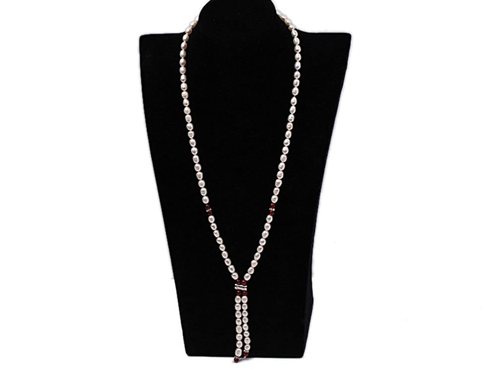 JYX Natural White Rice Freshwater Pearl With Red Coral Single Strand Long Necklace JYX Pearl FNS209
