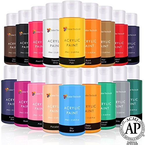 Acrylic Paint Set By Color Technik, Artist Quality, NEW COLORS, 18x59ml (2-Ounce) Bottles, Best Colors For Painting Canvas, Wood, Clay, Fabric, Nail Art & Ceramic, Rich Pigments, Heavy Body, GIFT BOX by Color Technik