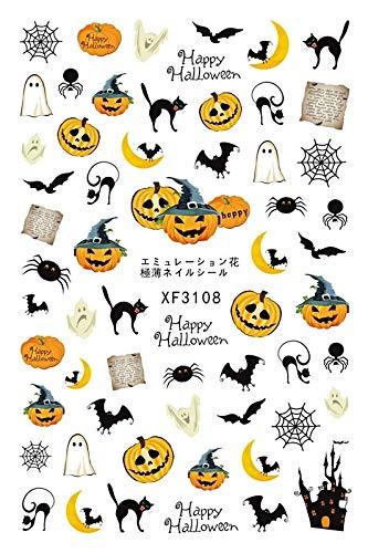 Palarn Nail Art, Horror Design Halloween 3D Nail Art Stickers Manicure Adhesive Transfer -