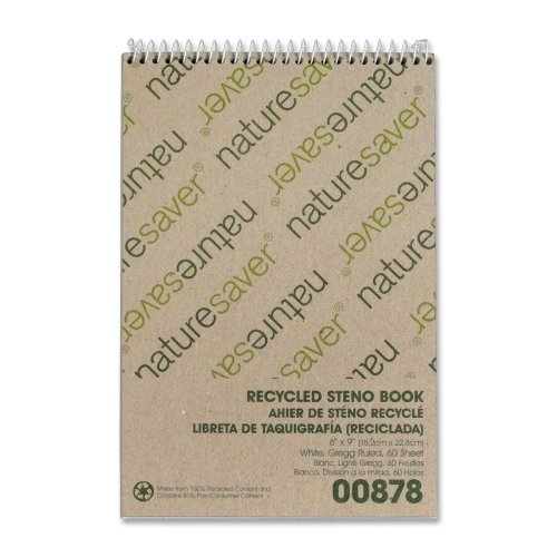 Nature Saver Recycled Notebook - Wholesale CASE of 25 - Nature Saver Recycled Steno Book-Steno Notebook, Gregg Ruled, 60 Sheets, 6