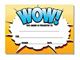 'Award' certificates 'WOW' - Perfect for any award, teachers, kids - 16 x A6 cards - choice of Blue or Yellow (Yellow)