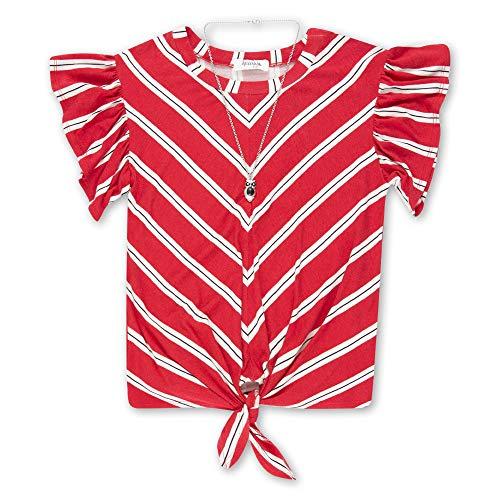 Speechless Girls' Big 7-16 Tie-Front Ruffle Sleeve Top, Red Chevron Stripe, XL