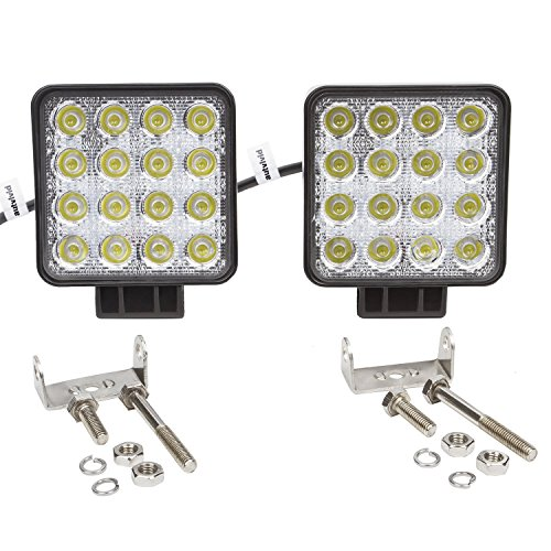 autvivid 2 pcs 48W Flood LED Lights Square Off Road Work Driving Lamp for ATV Jeep Wrangler 4x4 Rv Trailer Fishing Boat Tractor Truck Car