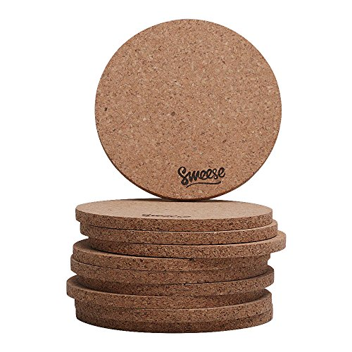 Sweese Cork Coasters for Drinks - 4 Inches - Set of 10, Round