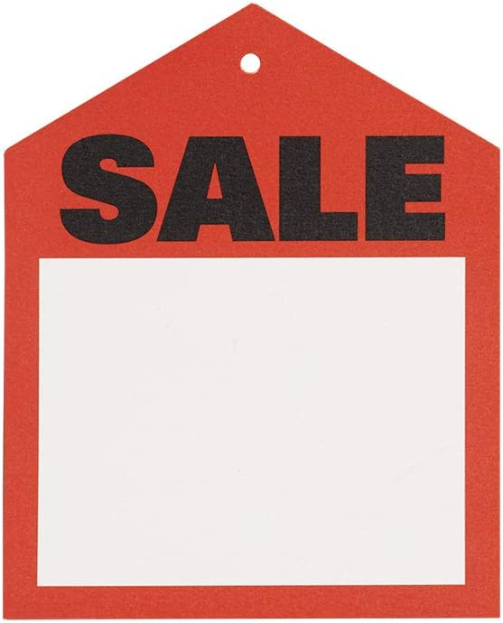 Case of 1000 Sold Tags in Red and White 2 W x 4¾ H Inches with Slit