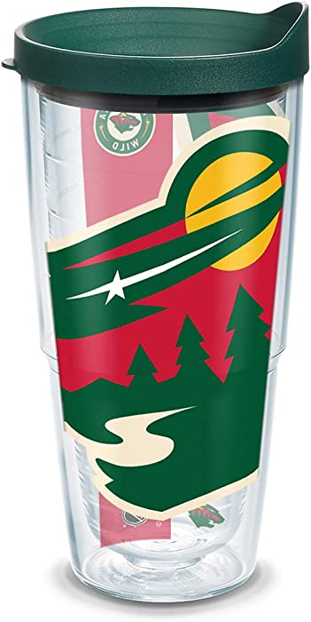 Tervis NHL Minnesota Wild Colossal Tumbler with Wrap and Hunter Green Lid 24oz, Clear
