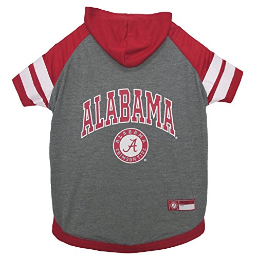 NCAA Alabama Crimson Tide Hoodie for Dogs & Cats, Medium. | Collegiate Licensed Dog Hoody Tee Shirt | Sports Hoody T-Shirt for Pets | College Sporty Dog Hoodie Shirt.