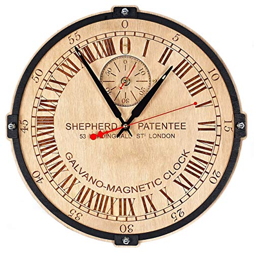 24 Hr Round The Clock - Greenwich Mean Time (GMT) Shepherd Gate unique large 24-hour analogue dial wooden wall clock (personalized gift)