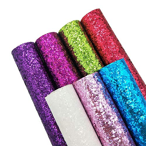 ZAIONE 7 pcs A4 (8 x 12) Sheets Colorful Sparkly Chunky Glitter Mixed Glitter Vinyl Faux Fabric Craft Leather for Shoes Bag Sewing Patchwork DIY Craft Applique (Chunky Glitter-Candy Series)