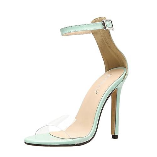 c1c8db8f94284 PAOLIAN Zapatos de Tacón Altas Aguja para Mujer Verano 2018 Moda Clásicos  Transparente Zapatos de Boca de Pescado Hebilla Fiesta Sandalias de Vestir  con ...