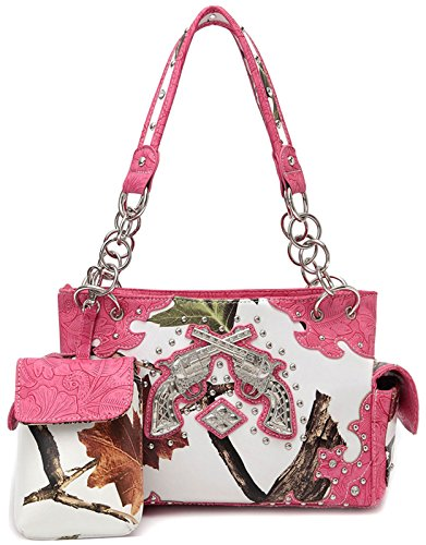 Tooled Western Purse (Camouflage Pistol Tooled Leather Concealed Carry Purse Western Style Handbags Women Country Shoulder Bags (Fuchsia))