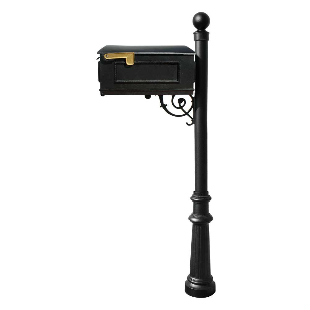 Qualarc Lewiston Cast Aluminum Post Mount Mailbox System with Post,  Aluminum Mailbox, Fluted Base and Ball Finial, Black, Ships in 2 boxes