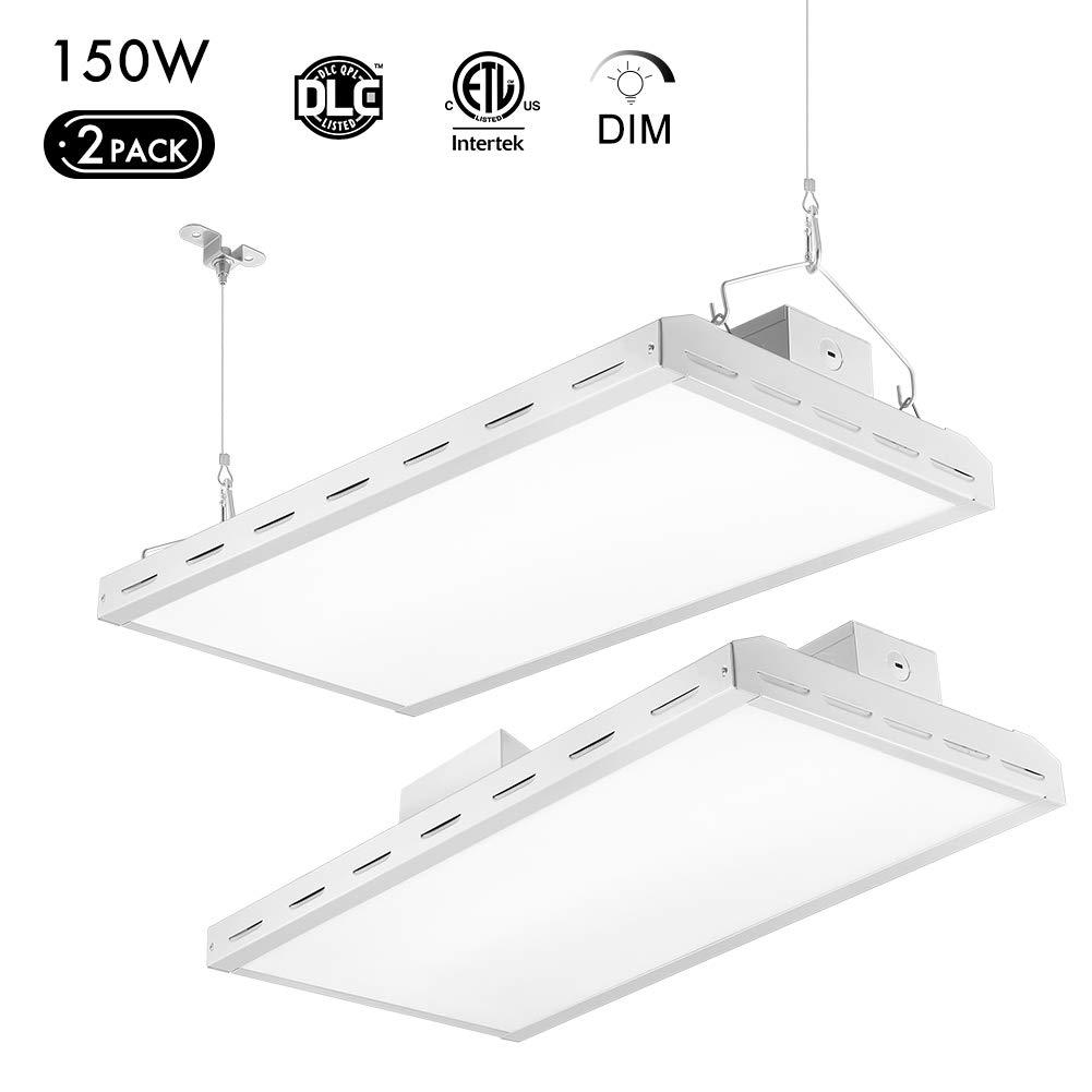 18000LM Suspend Mounting 2 Pack Supermarket 1-10V Dimmable 5000K Daylight Lightdot LED Linear High Bay Light 2FT Garage High Bay LED Shop Lights for Warehouse 500W Eqv Workbench 150W