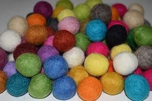 100% fieltro de lana 20mm pelotas   0,8pulgadas POM POM Beads   perlas de lana pura     bola de fieltro color mezclado bricolaje