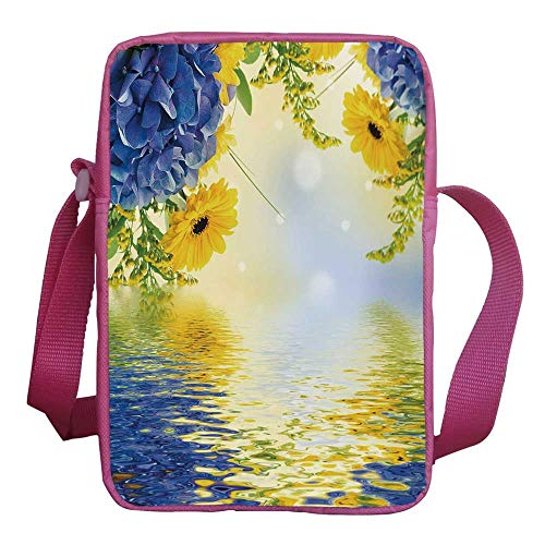 Yellow and Blue Stylish Kids Crossbody Bag,Romantic Bouquet of Hydrangeas and Asters on Water Background for Girls,9