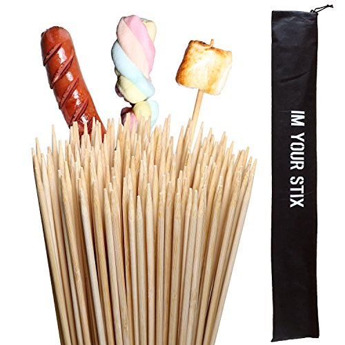 Cheap [110pcs+Bag Kids Safe] Natural Bamboo Marshmallow Roasting Sticks 36 Inch Extra Long Campfire Food Skewers S'mores Roasting Sticks Kit FDA Environmentally Safe 100% Biodegradable BBQ Bamboo Wooden