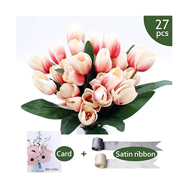 SNAIL GARDEN 27 Pcs Silk Tulip,13.8″ 3 Pack Artificial Flowers, Artificial Bouquet with Satin Ribbon for Home Room Office Wedding Party Decor (Pink)