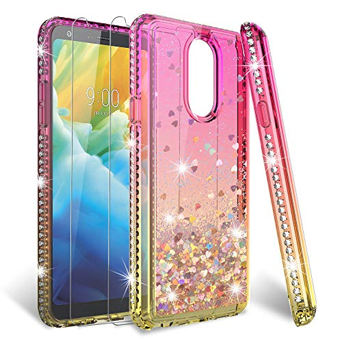 HATOSHI LG Stylo 4 Case with Screen Protector Tempered Glass [2 Pack] for Girls Women, Glitter Quicksand Floating Sparkle Bling Diamond Cute Protective Case for LG Stylo 4 Pink/Gold
