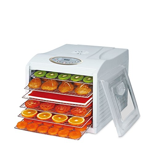 BioChef Arizona Sol Food Dehydrator with 6 x BPA FREE Stainless Steel Drying Trays & Digital Timer + Accessories - Horizontal airflow for meat, fruit, herbs and vegetables food preserver, white