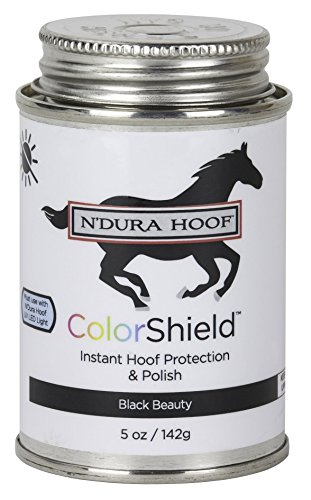 ColorShield Instant Hoof Protection & Polish. BLACK BEAUTY/SATIN. Hardens in 60 Seconds with UV Light (Included). Rich Color & Protection. Safe, Removable. Lasts up to 2 Wks. 5 Oz Can with Brush. ()