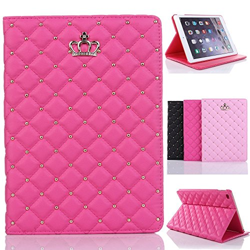 iPad Mini 4 Cover,Inspirationc® iPad Mini 4 Crown Pattern Heavy Duty Rugged Leather Flip Smart Cover for Apple iPad Mini 4 Bling Diamond Protective Stand Case--Rose Red