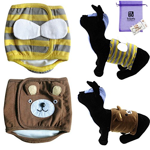 Bolbove Cute 2pcs Male Puppy Belly Band for Small Boy Dogs I