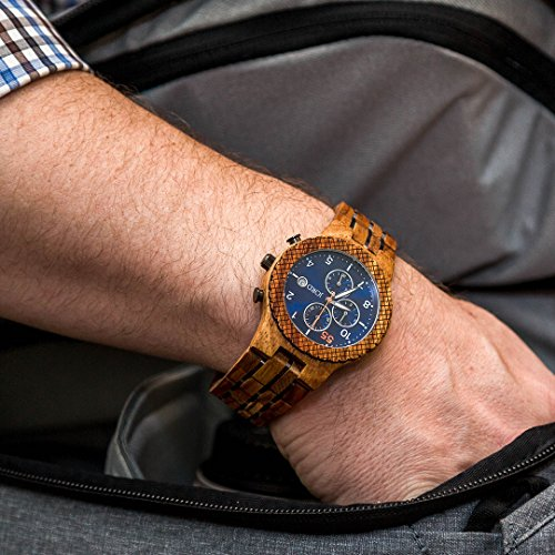 JORD Wooden Wrist Watches for Men - Conway Series Chronograph / Wood and Metal Watch Band / Wood Bezel / Analog Quartz Movement - Includes Wood Watch Box