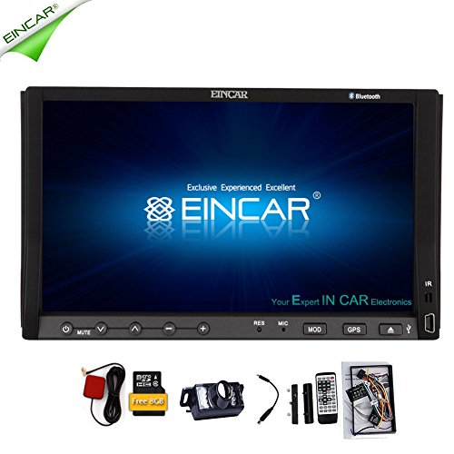 EinCar Win 8 UI Car DVD Player in Dash Touch Screen with GPS Navigation Car Stereo Bluetooth Double Din Head Unit MP3 Music Video Audio Playback 2din Media Player Rearview Camera included - Tv Decks For Cars