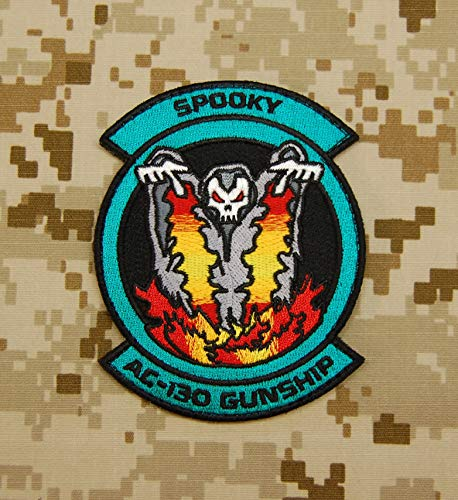 BritKitUSA Ace Combat Spooky AC-130 Squadron Embroidered Patch Hook Backing