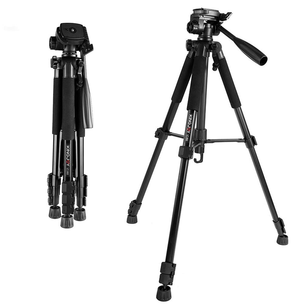 Professional Fluid Head Tripod 57 inche Photography Folding Camera Tripod for Canon Nikon Sony DSLR Camera Camcorder Adjustable Height